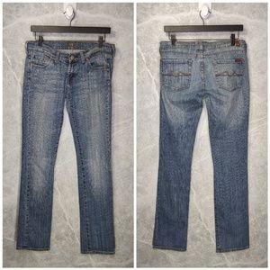 7FAM Low Rise Boot Cut Jeans